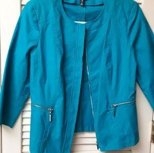 Rafaella Light Blue Zipper Jacket NWT